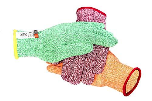 3 Farbe schnittfeste Handschuhe rot für Fleisch, grün für Veg, gelb für Obst - Food Grade Nr. Cross Contam, passt für beide Hände, Größe groß, (Size : L(9.45IN))