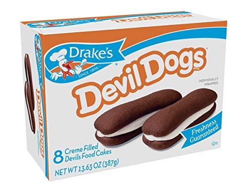 Hostess Drake's Cakes Devil Dogs, 8 cakes,13.63 oz (pack of 2)' [total 16 cakes, 27.26 oz]