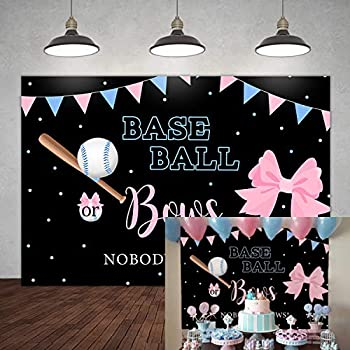 5×3ft Baseball or Bows Gender Reveal Backdrop Boy or Girl He or She Blue or Pink Surprise Party Banner Decorations Blue Pink Dots Flags Baby Shower Photography Background Portrait Photo Booth Props