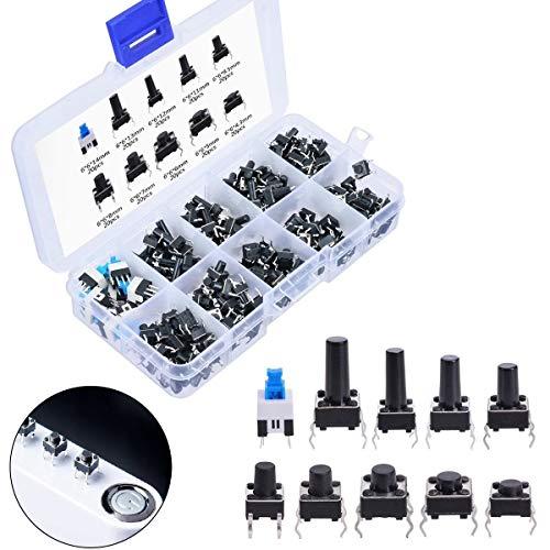 ARCELI 180 Stück 4-poliger Druckknopfschalter 10 Werte Tastbarer Tastschalter Momentary Tact Sortiment Kit Verschiedene Größen mit Kunststoffbox