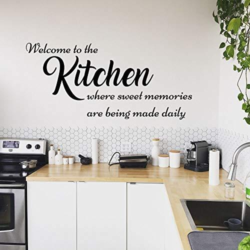 Zdklfm69 Adhesivos Pared Pegatinas de Pared Bienvenido a la Etiqueta de la Cocina de la Etiqueta del Arte de la Pared de la señalización de la Cocina para la decoración casera de la Cocina 79x42cm