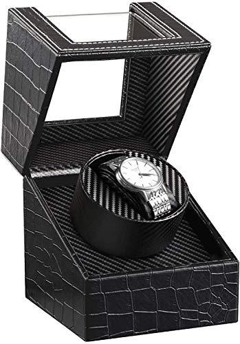 HBselect Uhrenbeweger luxuriöser automatischer Uhrenwender Uhrenvitrine für Automatikuhren, Watch Winder (1 Uhren, Zeichnung, schwarz)
