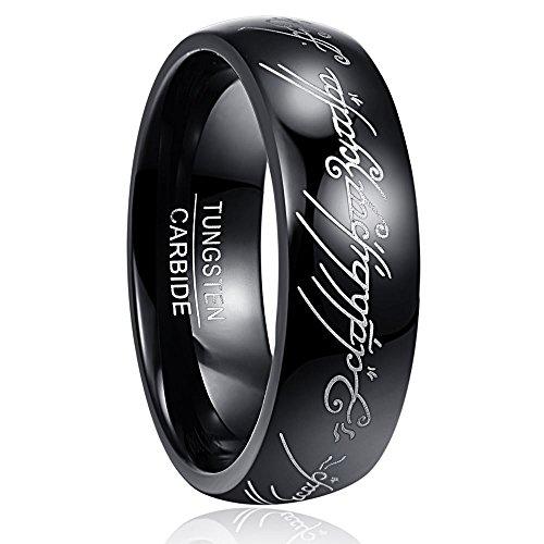 NUNCAD Herr der Ringe Schwarz Wolframcarbid Ring für Herren Damen Komfort fit Größe 65