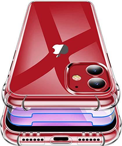 Garegce Coque iPhone 11, 3 Pack Verre Trempé Protection écran, iPhone 11 Housse de Transparente Silicone TPU, Antichoc [Coins Renforcés] Bumper Étuis pour iPhone 11-6.1 Pouces - Cristal Transparent