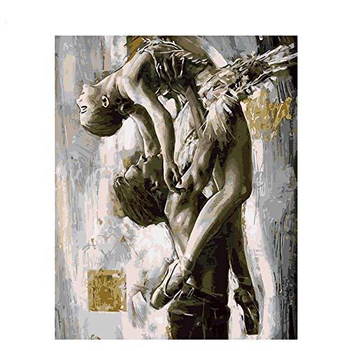 DIY Pintura al óleo por números Adultos Niños Decoracion de Pared Regalos Decoraciones para el Hogar Bailarina Abstracta Fotos para Salon,Dormitorio,Baño Bailarina de almas-40x50cm E1284