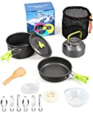 DZRZVD Camping Cookware Mess Kit Gear for 1/2 Person,Backpacking Accessories Equipment Pots and Pan Set with Mesh Carrying Bag for Hiking, Picnic (16 Pieces-Green)