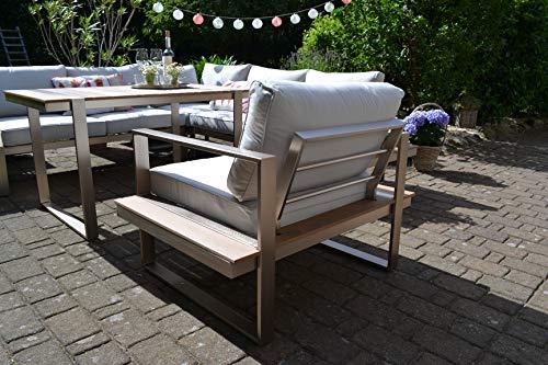 bomey Dining Ecklounge Atlanta in Braun I Lounge-Set bestehend aus einem Sessel und Ecksofa in braun, Tisch im Edelstahl/Teak Design & Polstern in Beige I Garten + Terrasse + Wintergarten - 3