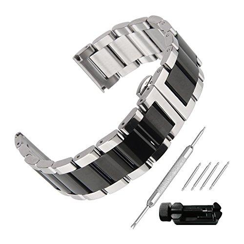 Beauty7 Correa para Reloj de Acero Inoxidable Hebilla Plateada y Negra Dos Tonos Correa con Herramientas Reemplazo Doble Claps de Bloqueo 16mm 18mm 20mm 21mm 22mm 23mm 24mm