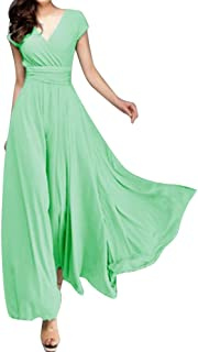 V Neck Short Sleeve Maxi Dress For Women Solid Color A-Line Empire Line Holiday Dresses For Women