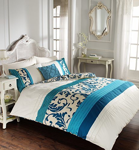 Duvet Cover King Size with Pillowcases Quilt Reversible Poly Cotton, Scroll Teal