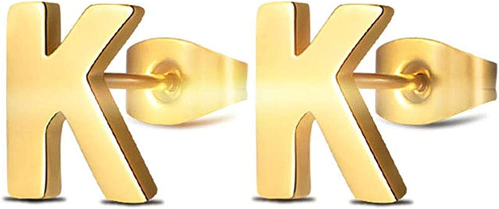 MANVEN 14K Gold Plated Stainless Steel Hypoallergenic Tiny Initial Letter Studs Earrings for Women and Little Girls