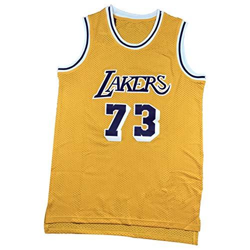 XGYD Rodman - Camisetas de baloncesto para hombre 73 #, para hombre, tejido de poliéster juvenil, bordado de malla retro, transpirable, sin mangas, chaleco deportivo, regalos amarillo-S