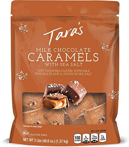 Tara's Small Batch Milk Chocolate Covered Sea Salt Soft Caramels, 3 Pound Dark Chocolate 48.6 Ounce