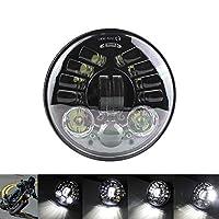 """5.75インチオートバイヘッドライトLedヘッドライト5 3/4""""H4ハーレースポーツスターXL XG XR用アダプティブコーナリングヘッドランプ,黒"""