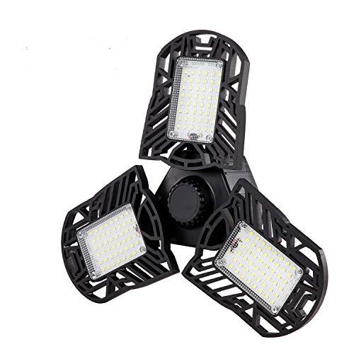 LED Garage Lights, 80W 6000LM Adjustable 3 Panels Deformable Garage Lighting E26/E27 Tribright Ceiling Shop Light for Workshop Warehouse Barn Basement