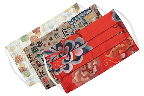 Medi+Sons Supply Washable 3 Layer Designer Women's Face Mask Covering, Red Retro Floral, Brown and Beige Designs, 3 Pack