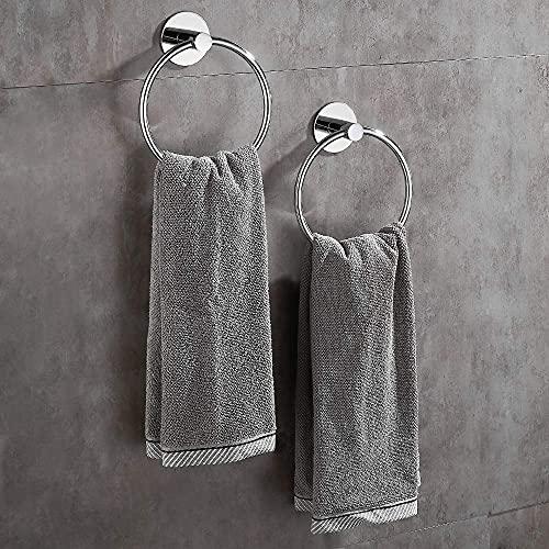 Wopeite Selbstklebender Handtuchring Ohne Bohren Handtuchhalter Rund mit Kleber Edelstahl für Bad Poliert Silber 2 Stück
