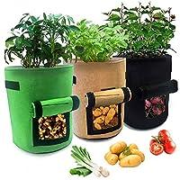 ❦3 PACKS DE 7 GALLONS: Notre sac de plantation mesure 30 * 35 cm / 11.9 * 13.8 pouces (diamètre X hauteur), environ 24L, avec un grand espace et une capacité suffisante, ce qui peut faire pousser les racines de la plante en profondeur et en bonne san...