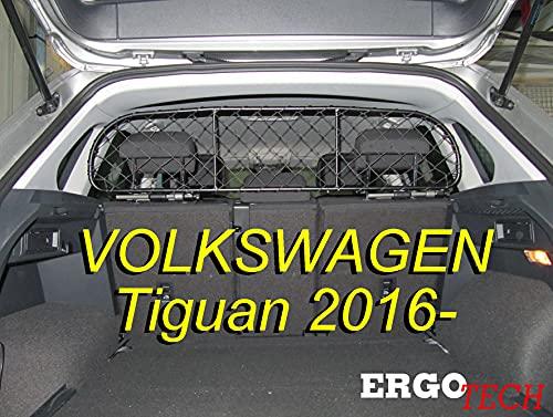 ERGOTECH Trennnetz Trenngitter kompatibel mit Volkswagen Tiguan RDA65-S8 kvw023, für Hunde und Gepäck. Sicher, komfortabel für Ihren Hund, garantiert!