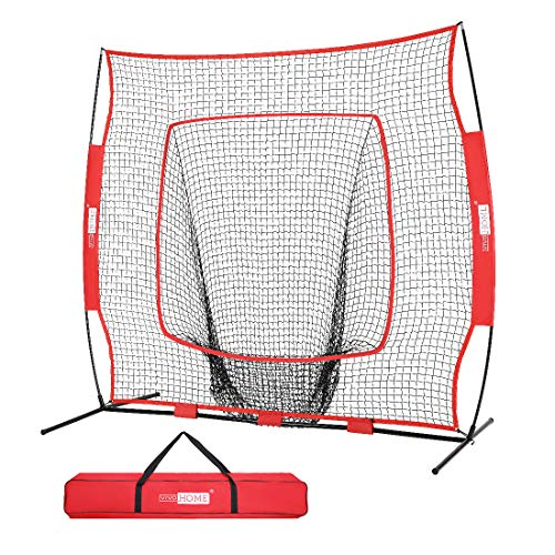 VIVOHOME 7 x 7 Feet Baseball Backstop Softball Practice Net with Strike Zone Target and Carry Bag for Batting Hitting and Pitching Red
