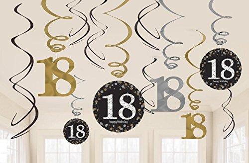 Riesen Girlande 18 Geburtstag PVC Swirl Spiralen Schwarz Gold 12er Dekoset