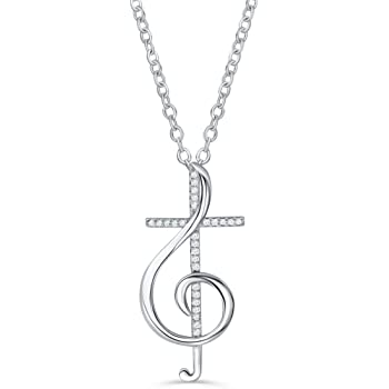 Top 10 Jewelry Gift Sterling Silver /& 12k Treble Clef Necklace