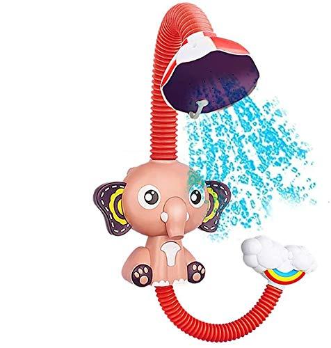 Bias&Belief Juguete De Baño para Bebé Elefante Rociador De Agua Elefante Cabezal De Ducha Ajustable Aspersor De Bañera Rociador De Agua,Rosado