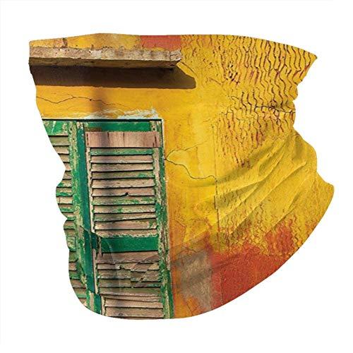N/W Outdoor Schal Halstuch Halstuch Gesicht Bandana Schal Kopftuch Rollläden Dekor Holz Fenster und Alt Vintage Orange in Louis Senegal Classic Home senf grün Kopftuch