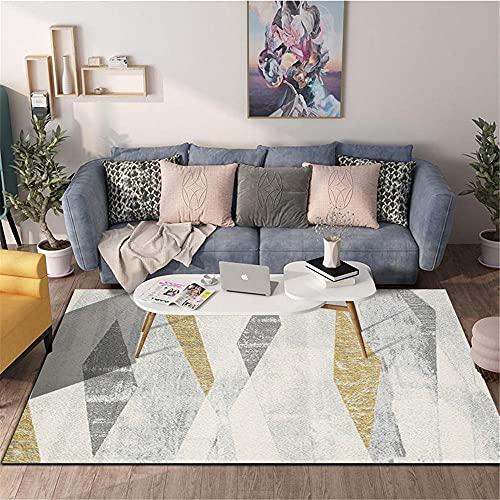 AU-SHTANG Alfombra Puzzle La Alfombra Blanca Gris, el patrón de Diamante es fácil de Practicar la Manta de Sangre de ventilación a Prueba de Humedad Moderna alfombras Baratas -Grisáceo_200x300cm
