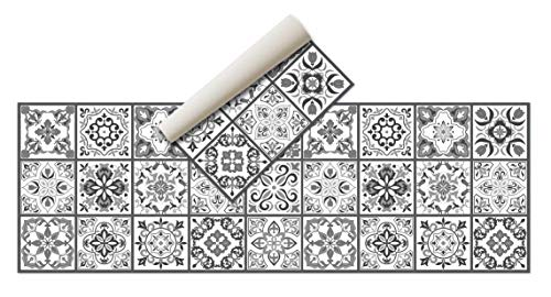 Alfombra Vinílica Hidráulica (180 x 60 cm, Negro-Gris) - Distintos diseños y tamaños - Alfombra Cocina, baño, salón Comedor - Antideslizante - Alfombra Dormitorio - Goma esponjosa y Suelo PVC