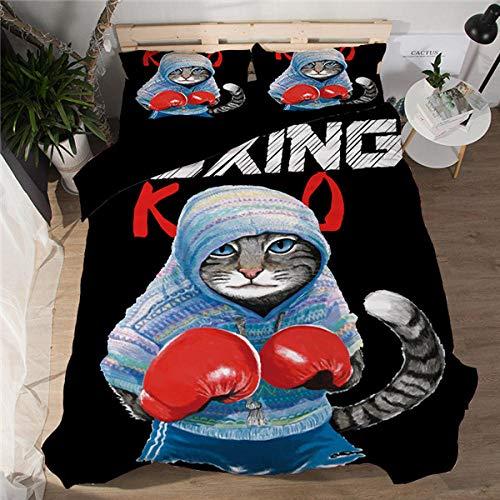 Erbaeo 4 delar barnpåslakan med 1 dra-på-lakan och 2 kuddar, boxande kattdjur - sängkläder med tryck med blixtlåsstängning, pojkar barn påslakan dubbel: 200 x 200 cm