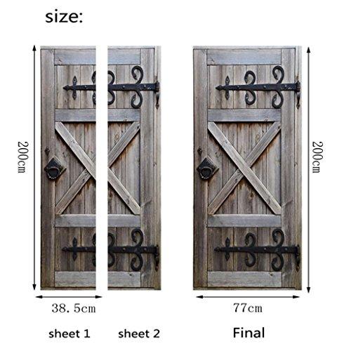 YHKQS 3D Stereo Tür Gestempelt Alte Holztür Wohnzimmer Schlafzimmer Tür Benutzerdefinierte Wandaufkleber Abnehmbare Selbstklebende Aufkleber
