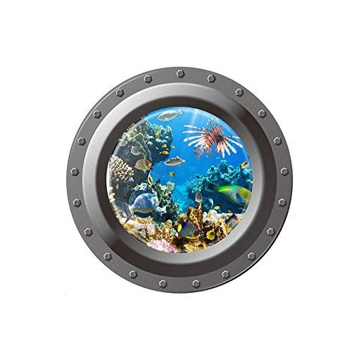 3D Art Wandtattoo Removable Wall sticker fantastischen u-Boot-Bullaugen Fisch Unterwasser Welt Wand Aufkleber Home Decor