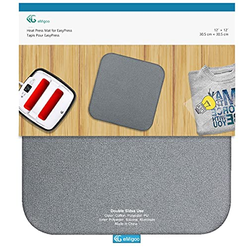 EG EMGIOO Heat Press Mat Double Sides Used Ironing Insulation Mat for Cricut Easypress, T Shirts and HTV Vinyl Projects, 12 x 12 inches