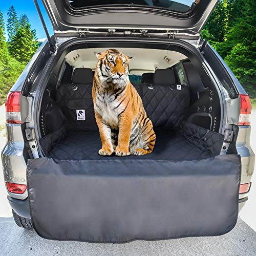Dog Cargo Liner for SUV, Van, Truck & Jeep - Waterproof, Machine Washable, Nonslip Pet Seat Cover with Bumper Flap will keep your vehicle as clean as ever - XL, Universal Fit - BONUS Carry Bag