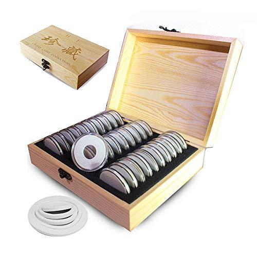 Dough.Q 30 Stücke Münzkapseln Münze Kapseln. 5 Größen (20/25/30/35/40mm) Massivholz + Runder Acrylrahmen Münzenkapseln Münzdose Münzhalter Mit Aufbewahrungsbox Für Münze Kollektion