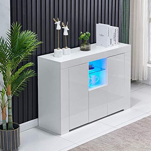 Gabinete de almacenamiento de gabinete lateral de alto brillo, casillero LED con 2 puertas, 1 gabinete de cajones, casillero de sala de estar con 16 colores LED tiras de luz,White