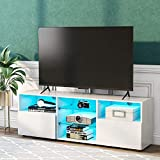 MOWIN TV Board LED Lowboard TV Schrank Weiss 130 cm breit, 16-LED-Farben Fernsehschrank mit viel Stauraum (White)