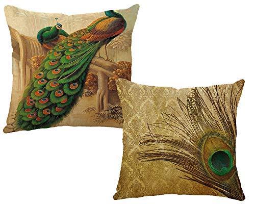 InsideOut kussenslopen, herfst, pauwenveren, linnen, 45 cm x 45 cm, voor bank