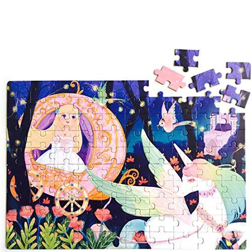 Georgie Porgy Dibujos Animados Puzzles Rompecabezas Multicolor Educativo Puzzles Juguetes Regalos Juegos para Niñas Niños de 5 Años en Adelante (100 PC) (Sirena + Pequeña Princesa y Unicornio)