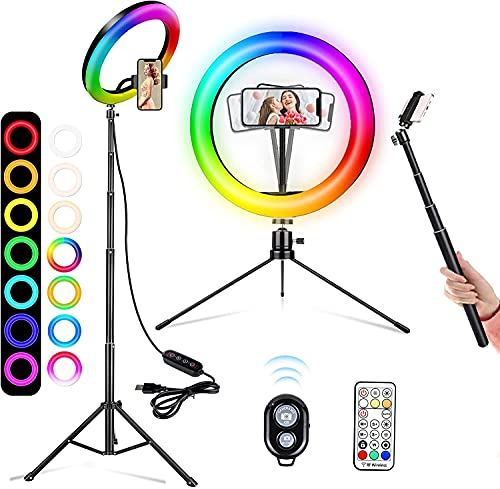 """A-TION 10"""" RGB Selfie Ring Light with 2 Tripod Stand & Phone Holder, 26 Color Changing, Camera Remote Shutter, for Makeup, YouTube, TikTok, Video, Photography"""