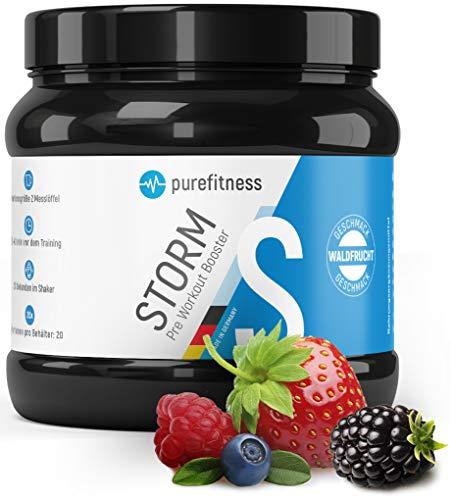 PREMIUM Pre Workout Booster STORM I 300g I Vegan I Mit Aminosäuren I Ohne Kreatin I Laborgeprüft I Trainingsbooster I For every Workout I Waldfrucht