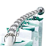 BRIOFOX Adjustable Curved Shower Curtain Rod 42-72 Inches, 304 Stainless Steel Rust-Resistant Shower Rod | Bathroom Kitchen Home Use Chrome - Need to Drill