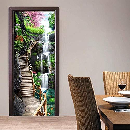 JIANXIQT deurstickers voor binnendeuren, citaat muursticker waterval houten ladder 3D badkamer deur sticker Pvc natuurlijke landschap kunst stickers voor woonkamer slaapkamer schuifdeuren muurschildering 77x200cm