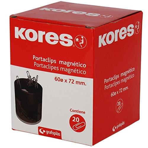 Kores 471080 Porta Clips Magnético, Negro, 60 x 72 mm