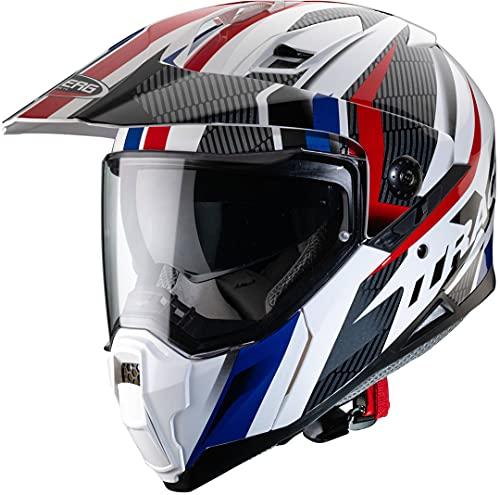 Caberg Herren XTRACE Savana Motorradhelm, Weiß/Rot/Blau, S