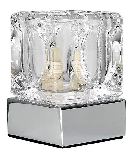 MiniSun – Moderne touch tafellamp in ijsblokjesvorm met een verchroomde afwerking en glazen lampenkap - Ijsblok lamp