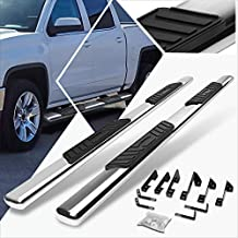 Pair 5 Inch Stainless Oval Tube Nerf Step Bars/Running Boards/Side Step Compatible with Silverado Sierra Crew Cab 99-14