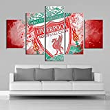 FDSKF.N Aquarell 5 Stück-Wand-Kunst Liverpool Poster Leinwand Gemälde Football Sports Print Kinder Gerahmte Wall Art Pictures Home Decor (Color : No Frame, Size (Inch) : Size 3)