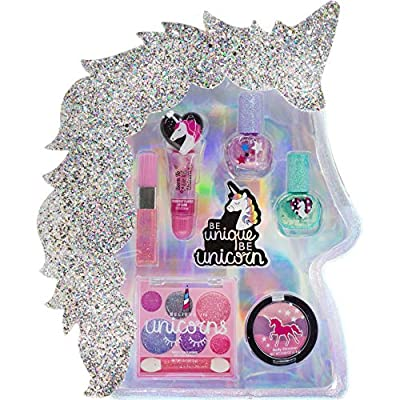 Townley Girl I Believe in Unicorns Makeup Set with 8 Pieces, Including Lip Gloss, Nail Polish, Body Shimmer and More in Unicorn Bag, Ages 3+ for Parties, Sleepovers and Makeovers